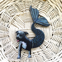 Mermaid Pitbull Magnet - Blue Pitbull Gift, Mermaid Gift, Weird Dog Art, Pit Bull Dog Mermaid Pitbull Memorial Gift, Pitbull Mom Gift by Pergamo Paper Goods www.pergamopapergoods.com