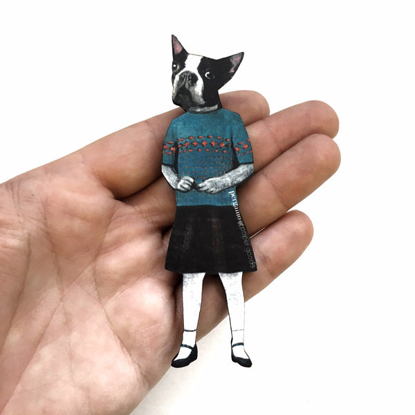 Boston Terrier Dog Magnet - Vintage Inspired, Weird Art for Dog Lovers by Pergamo Paper Goods www.pergamopapergoods.com
