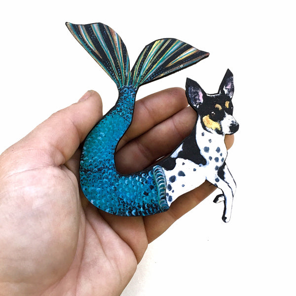 Mermaid Dog Magnet, Rat Terrier Gift, Dog Mermaid Gift, Weird Dog Art, Rat Terrier Memorial Art Fantasy Gift by Pergamo Paper Goods