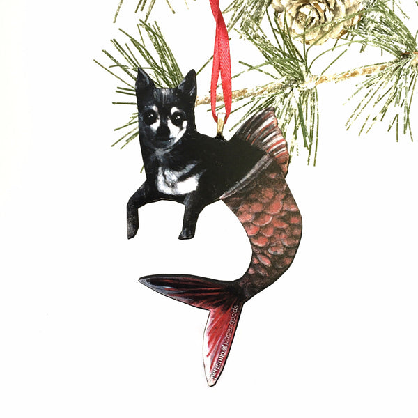 Mermaid Chihuahua Ornament, Beach Christmas Pet Memorial Gift, Wood Illustrated Laser Cut Ornament, Dog Mom Gifts for Dog Lovers, Wholesale Handmade Ornaments by Pergamo Paper Goods www.pergamopapergoods.com.