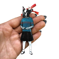 Handmade Boston Terrier Ornament, Wood Illustrated Dog Laser Cut Weird Ornaments, Dog Mom Gift, Memorial Gifts for Dog Lovers, Wholesale Ornaments, Rescue Gifts by Pergamo Paper Goods www.pergamopapergoods.com.