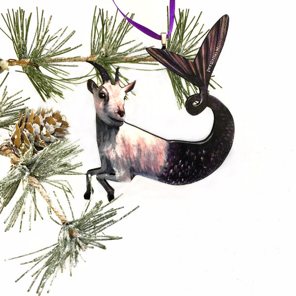 Capricorn Ornament, Mermaid Goat Christmas Decoration, Illustrated Zodiac Gift, Stocking Stuffer Weird Gifts, Wood Farm Holiday Decor by Pergamo Paper Goods www.pergamopapergoods.com