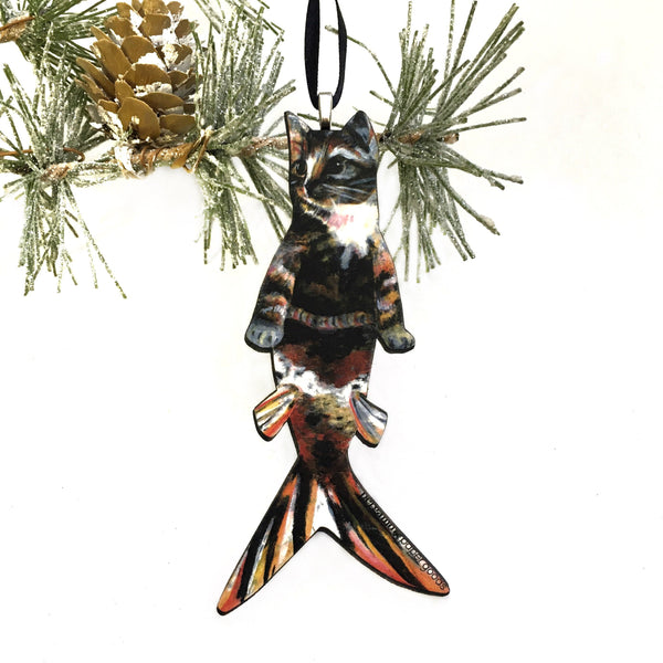 Tabby Cat Mermaid Ornament, Orange Mermaid Christmas Decoration Ornaments, Wood Beachy Weird Gift, Animal Rescue Foster Gifts for Cat Lovers and Wholesale Handmade Ornaments by Pergamo Paper Goods www.pergamopapergoods.com