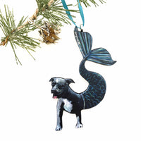 Blue Pitbull Ornament, Christmas Pet Memorial Gift, Wood Illustrated Mermaid Laser Cut Ornament, Dog Mom Gifts for Dog Lovers, Handmade Wholesale Ornaments by Pergamo Paper Goods www.pergamopapergoods.com