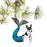 Mermaid Dog Ornament, Wood Illustrated Rat Terrier Christmas Laser Cut Ornament, Dog Mom Gift, Memorial Gifts for Dog Lovers, Wholesale Ornaments by Pergamo Paper Goods www.pergamopapergoods.com