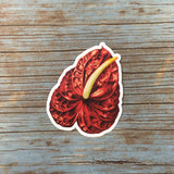 Red Anthurium Stickers, Vinyl Flowers Laptop Sticker Pack, Houseplants Decal Illustration Decals, Plant Mom Gifts, Tropical Plants Ephemera by Pergamo Paper Goods www.pergamopapergoods.com.