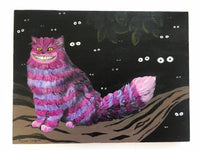 Cheshire Cat Art, Mixed Media Alice in Wonderland, Collage Wall Art, Pink and Purple StripeS, Vintage Painting, Weird Art on Canvas by Gianna Pergamo- Pergamo Paper Goods - www.pergamopapergoods.com.