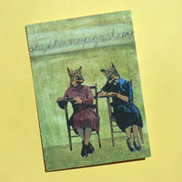Retro Greeting Cards for Animal Lovers - School Foxes Card www.pergamopapergoods.com