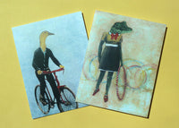 Vintage inspired stationery. Dressed up animal illustrations. Duck on a bike and alligator with hula hoop.