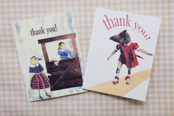 Thank You Cards | Animal Stationery | Six Card Set | Boar and Duck Stationery Set | Thanks Card Set | Thank You Stationery