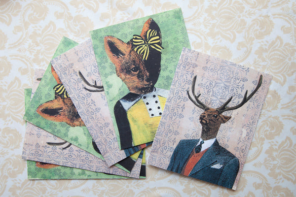 Fox and Deer Mixed Stationery Set - 6 Cards