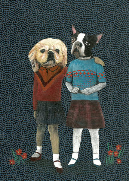 Dog art, Dressed up dogs, lesbian art, retro dogs, vintage dogs, dressed up animal art, unique dog illustrations, unique lesbian art, gifts for lesbians, gifts for dog lovers, vintage home decor