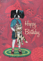 Illustrated card, Japanese Chin art, Japanese Chin illustration, fun birthday cards, quirky birthday cards, Dog and cat art