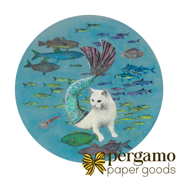 Mermaid Cat Art for Cat Lovers, Art for Mermaid Lovers, Mermaid Decor, Cat Decor, Cat Illustration, White Cat Mermaid