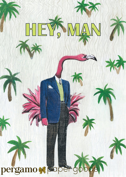 Retro Flamingo Card | Hey Man | Blank Cards for Men | Dad Card | Husband Card  | Unique Florida Stationery | Flamingos and Palm Trees