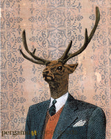 Mixed media deer portrait. Dressed up deer, deer wearing a suit. Mixed media animal art. Retro animals in clothes.