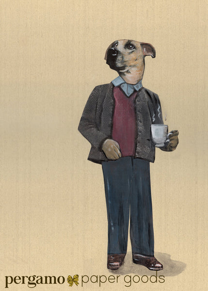 Illustration of dapper dog with a cup of coffee. Dog greeting card.