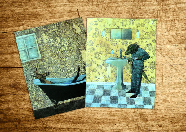 Two mixed media illustration greeting cards- a buck (deer) in a bathtub and an alligator brushing his teeth