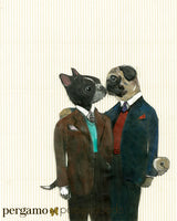 Collage of Boston Terrier and Pug Wearing Suits, kissing. Vintage Look. Gay Art for Animal Lovers - Pug and Boston Terrier Kissing Art Print by Pergamo Paper Goods