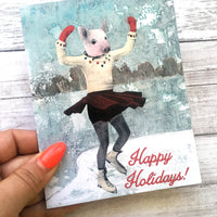 Ice Skating Pig Holiday Card or Card Set