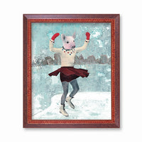Pig Art - Ice Skating Pig Gift - Weird Vintage Inspired Gifts by Pergamo Paper Goods