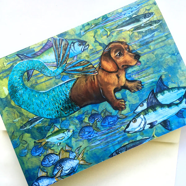 Mermaid Dachshund Greeting Card