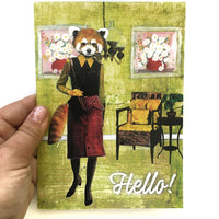 Red Panda Lady Greeting Card
