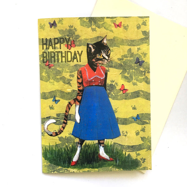 Illustrated Retro Birthday Cards for Cat Lovers - Birthday Cat Card by Pergamo Paper Goods