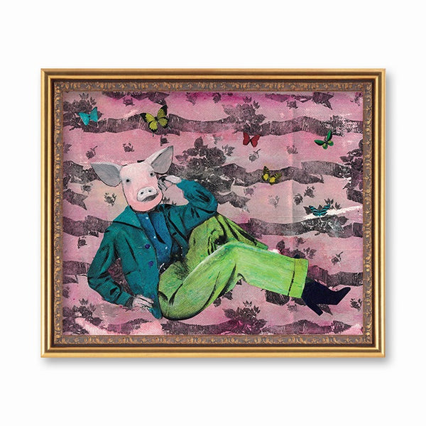 Weird Pig Art Print - Vintage Pig Wearing Clothes Art for Retro Home by Pergamo Paper Goods