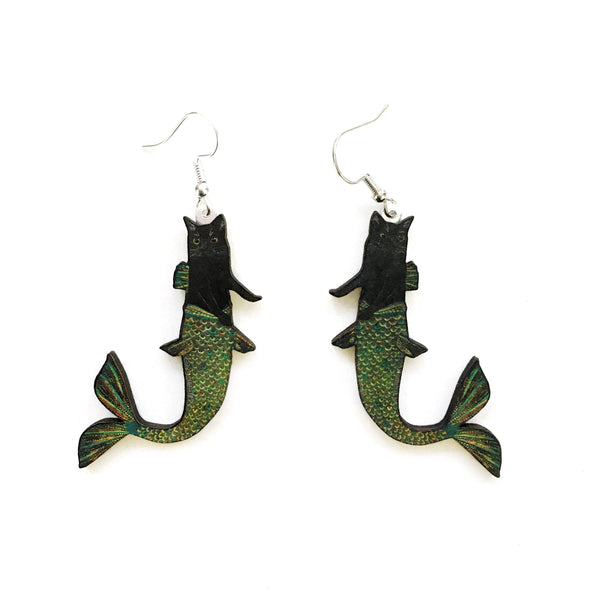 Black Cat Mermaid Earrings
