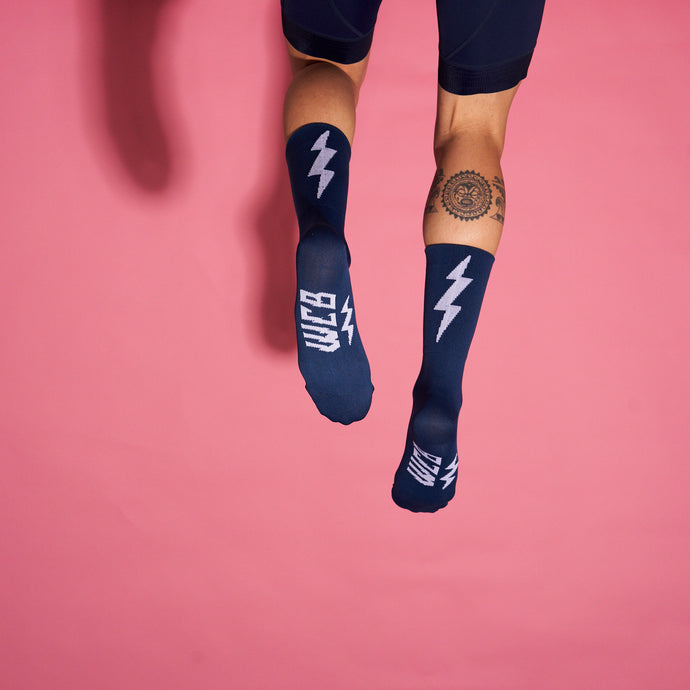 Navy Bolt Race Sock