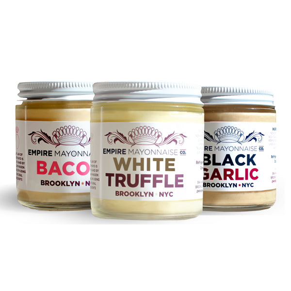 Set of three Luxurious hand-made in NYC mayonnaises - Cage-Free eggs, Non-GMO - White Truffle, Bacon and Black Garlic