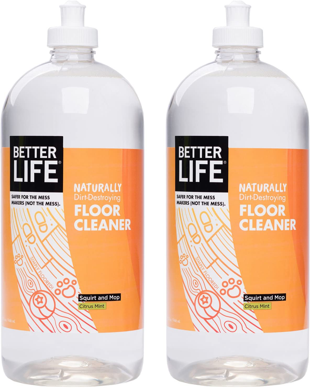Better Life Naturally Dirt-Destroying Floor Cleaner, Citrus Mint, 32 Fl Oz (Pack of 2)