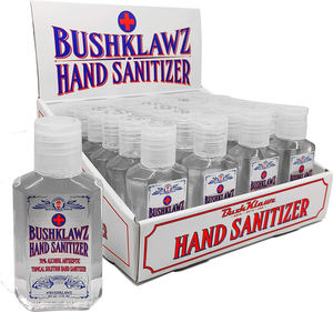 BushKlawz Hand Sanitizer Gel, 24 Pack 2 oz Travel Size, 70% Alcohol - No Rinse, Instant Clean with No Water Needed, 24x 2oz Individual Travel Size Retail Bulk Multi-Pack Refillable Bottles