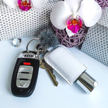 Load image into Gallery viewer, Leather Hand Sanitizer Holder -Premium Hand sanitizer holder keychain - Empty Refillable Bottle for Hand sanitizer - Mini Travel Hand Sanitizer Keychain Holder for Purse Backpac (Silver/White) LOVANDI