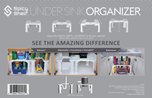 Load image into Gallery viewer, Expandable Under Sink Organizer and Storage I Bathroom Under the Sink Organizer Kitchen Under Sink Shelf I Cleaning Supplies Organizer Under Sink Storage I EXPANDABLE HEIGHT DEPTH & WIDTH