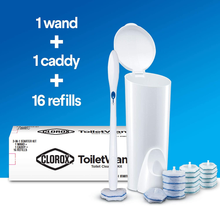 Load image into Gallery viewer, Clorox ToiletWand Disposable Toilet Cleaning System - ToiletWand, Storage Caddy and 16 Disinfecting ToiletWand Refill Heads (Package May Vary)