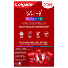 Load image into Gallery viewer, Colgate Optic White Renewal Teeth Whitening Toothpaste with Fluoride, 3% Hydrogen Peroxide, Enamel Strength - 3 Ounce (2 Pack)