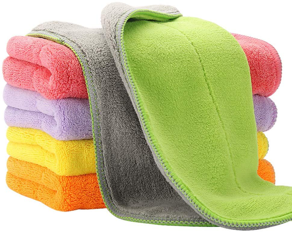 5 Extra Thick Microfiber Cleaning Cloths with 5 Bright Colors, 540 GSM, 12 x 16 Inch, Super Absorbent Towels with Two Color on Two Sides for House, Kitchen, Car, Window