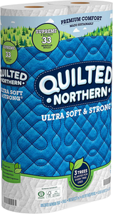 Quilted Northern Ultra Soft and Strong Earth-Friendly Toilet Paper, 24 Supreme Rolls = 99 Regular Rolls, 340 2-Ply Sheets Per Roll (Packaging May Vary)