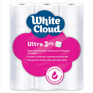 White Cloud Ultra Soft & Thick 3-Ply Toilet Paper – 24 Total Giant Rolls, 231 Sheets per Roll, 12 Rolls (Pack of 2)