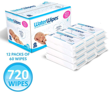 Load image into Gallery viewer, WaterWipes Unscented Baby Wipes, Sensitive and Newborn Skin, 12 Packs (720 Wipes)