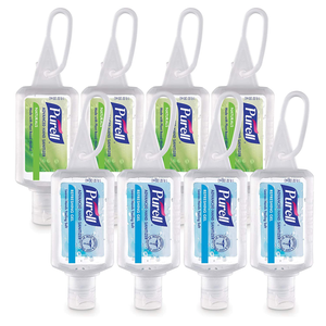 PURELL Advanced Hand Sanitizer Variety Pack, Naturals and Refreshing Gel, 1 fl oz travel size flip-cap bottle with JELLY WRAP Carrier (Pack of 8) - 3900-09-ECSC