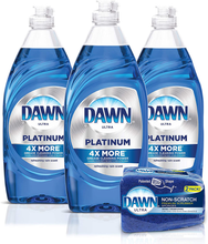 Load image into Gallery viewer, Dawn Platinum Dishwashing Liquid Dish Soap (3x24oz) + Non-Scratch Sponge (2 Count), Refreshing Rain, 1 Set