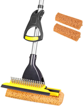 Load image into Gallery viewer, Yocada Sponge Mop Home Commercial Use Tile Floor Bathroom Garage Cleaning with Total 2 Sponge Heads Squeegee and Extendable Telescopic Long Handle 42.5-52 Inches Easily Dry Wringing