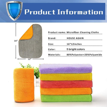 Load image into Gallery viewer, 5 Extra Thick Microfiber Cleaning Cloths with 5 Bright Colors, 540 GSM, 12 x 16 Inch, Super Absorbent Towels with Two Color on Two Sides for House, Kitchen, Car, Window
