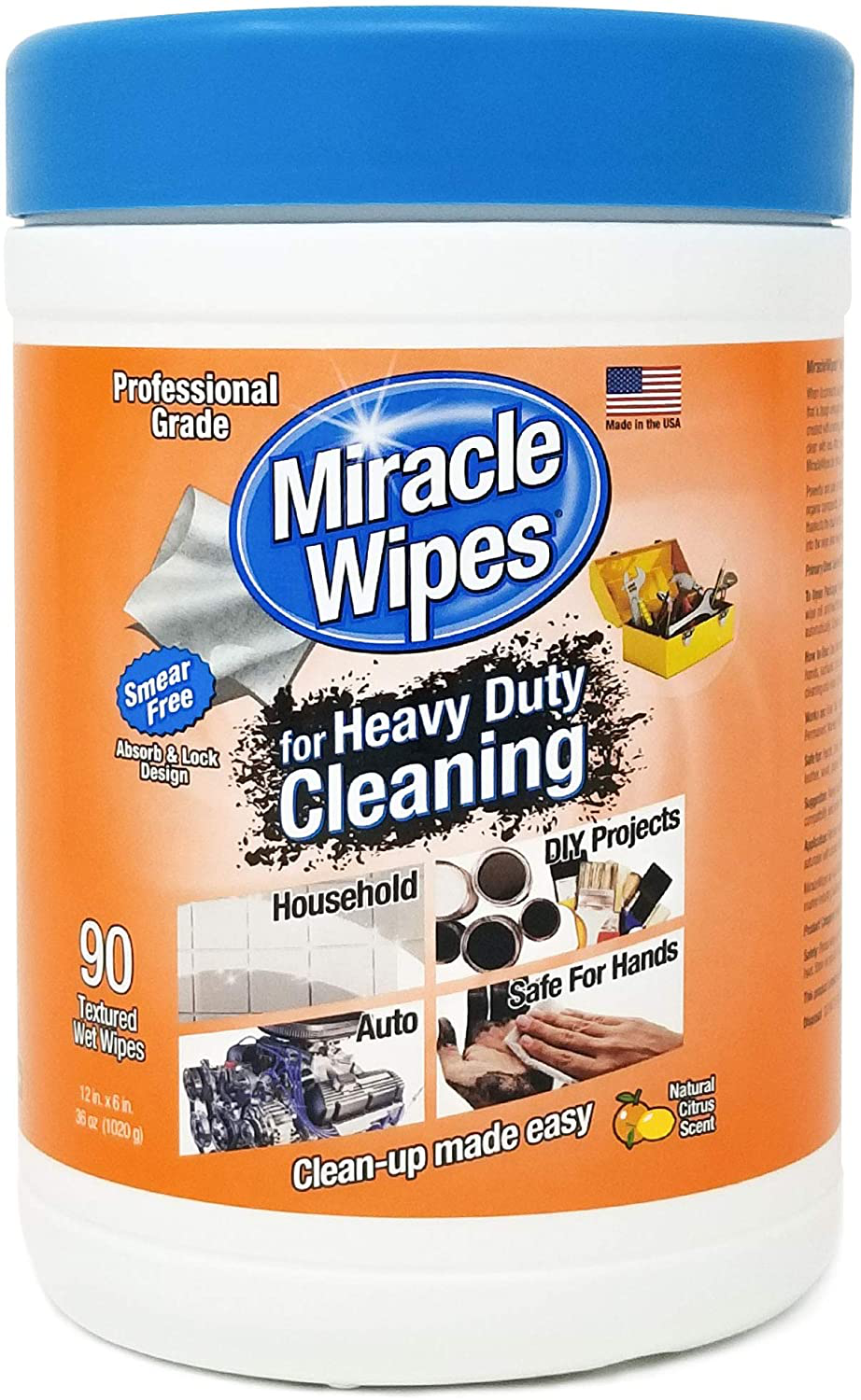 MiracleWipes for Heavy Duty Cleaning (90 Count) - All Purpose Cleaner, Kitchens, Bathrooms, Countertops, Hands, Indoors, Outdoors - Removes Grease, Grime, Crayon, Dirt & More