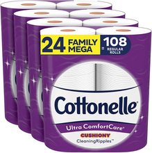 Load image into Gallery viewer, Cottonelle Ultra ComfortCare Toilet Paper with Cushiony CleaningRipples, 24 Family Mega Rolls, Soft Bath Tissue (24 Family Mega Rolls = 108 Regular Rolls)
