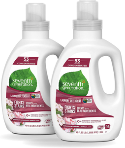 Seventh Generation Concentrated Laundry Detergent, Geranium Blossom & Vanilla, 40 oz, Pack of 2 (106 Loads), 40 Fl Oz (Pack of 2)