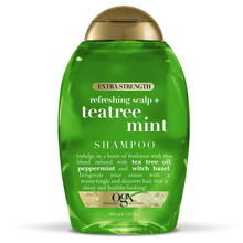 Load image into Gallery viewer, OGX Extra Strength Refreshing Scalp + Teatree Mint Shampoo, Invigorating Scalp Shampoo with Tea Tree & Peppermint Oil & Witch Hazel, Paraben-Free, Sulfate-Free Surfactants, 13 fl oz